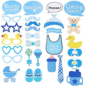 CCINEE 28PCS Kits Party Photo Booth Props,Baby Shower Boy Photo Props