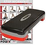 POWRX - Step da aerobica Home Version + PDF workout con 20 esercizi (Nero / Rosso)