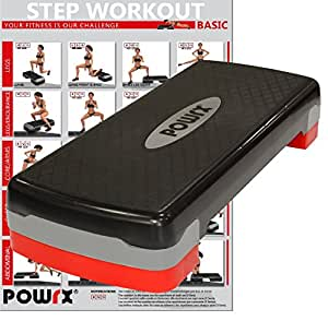 POWRX - Step da aerobica Home Version + PDF workout con 20 esercizi (Nero / Rosso)
