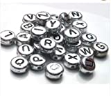 100 x 7mm Silver Coloured Alphabet Letter Beads- (Crafts - Jewellery Making Beads - Fashion Charms - Jewelry Accessories - Jewellery Findings 2s)