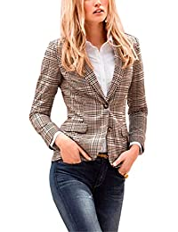 fc6e3f79bf3 SEBOWEL Womens Tailored Checked Blazer Jacket Suit Work Office Lapel Coat