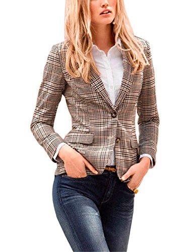 Lrud Damen Langärmliger Kurzer Taillierter Anzugjacke Colourful Blazer Business, XL, #2 Khaki -