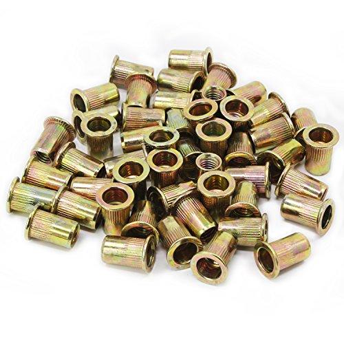 Aussel Verzinktes Carbon-Stahl-Niet-Nuss-Flachkopf-Gewinde-Niet-Nutsert-Kappe M8 50 Stück (NUT4-M8-50PCS)