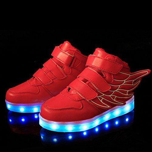 DoGeek Unisex Bambino Scarpe Con Luci Scarpe Led Luminosi Sneakers pattini dei Ragazze Rosso