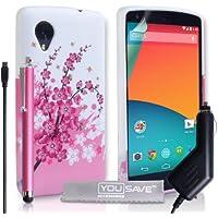 Yousave Accessories Zubehör Blumen Biene Silikon Gel, mit Eingabestift und Kfz-Ladegerät für LG Nexus 5