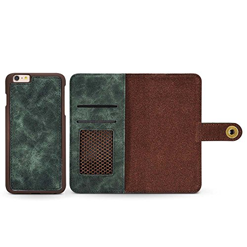 Custodia iPhone 7, Custodia iPhone 8, [2 in 1] [Portafoglio Rimovibile] [Retro Premium Esterno PU Pelle e Apri Pelle Vero di Interno] Cover per Apple iPhone 8 (2017), Verde Scuro Verde Scuro