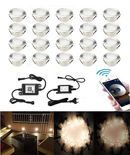 SUBOSI 20er Dimmbar LED Bodeneinbauleuchten große Größe Einbaustrahler Arbeitet mit Alexa,IFTTT,WiFi Wireless Smart Phone, Ø61mm IP67 Wasserdicht LED Einbaustrahler Außen Full Kit