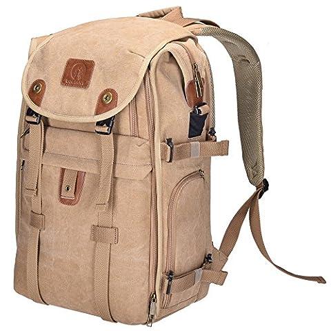 Camera Bag, DIGIANT 53.3x19.8x34.3cm DSLR Backpack Canvas Camera Case with Rain Cover, Camera Backpack Rucksack for Cameras, Lenses, Laptop/Tablet & Photography