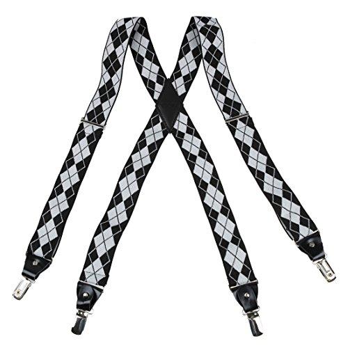 YFA010103 Off-White Nylon Hold-Up X-Back Clip Aus echtem Leder Hosenträger entspannen Hosenträger Von Y&G (White X-back-hosenträger)