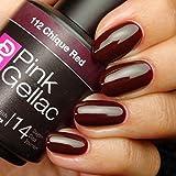 Pink Gellac 112 Chique Red UV Nagellack. Professionelle Gel Nagellack shellac für mindestens 14 Tage perfekt glänzende Nägel