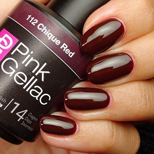 Vernis à ongles Pink Gellac 112 Chique Red. 15 ml gel Manucure et Nail Art pour UV LED lampe, top coat résistant shellac