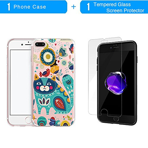 Coque iPhone 7 Plus, TrendyBox Transparent PC Hard Cover avec soft TPU Pare-chocs pour iPhone 7 Plus avec verre trempe film de protection (Fille et Swan) 112