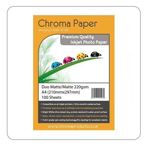 Chroma-Duo Mat A4 Double face à jet d'encre Papier Photo mat de grande qualité 220 g/m ² - 100 feuilles