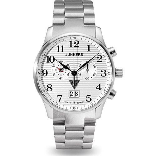 Junkers - 6686M1 - Montre Homme - Quartz - Chronographe - Bracelet Acier inoxydable Argent