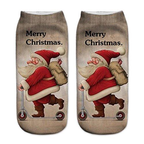 Weihnachten Socken Btruely 3D Gedruckt Weihnachten Socken Frauen Casual Socken Nette Unisex Low Cut Socken Weihnachtsmotiv Weihnachten Festlicher Baumwolle Socken (C) (Low Sport Mädchen Cut Sock)