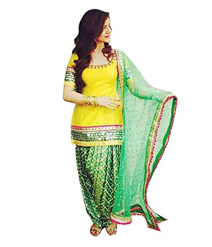 Briva Yellow Green Patiyala Salwar Suit Dress Material With Net Dupatta For...