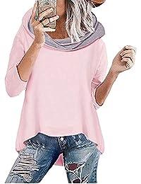 Socluer Sudadera con Capucha para Mujer Rosa Sudadera de Manga Larga con Cuello Alto Otoño e Invierno Jersey de Punto
