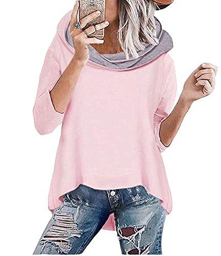Socluer felpa con cappuccio da donna rosa felpa a manica lunga con collo alto autunno e inverno maglia lavorata a maglia