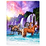 Dick Decke Weich Wärme Gemütlich Flanell-Fleece Sofadecke Deckeldecke Schöne Falls der Himmel pferde Ma Sunrise 150 x 200 cm