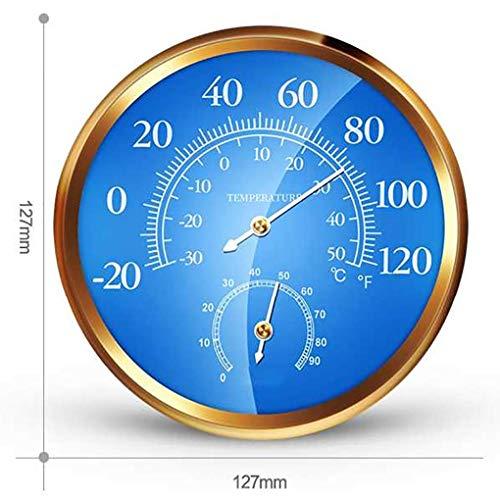 YYAW Multi-Funktions-Thermometer & Hygrometer, Profi-Familie Wetterstation 3-In-1-Zeiger-Barometer Automatische Kalibrierung Blau Dial -