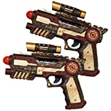 2 x Steampunk Pistolet Gun's Paire de style victorien Bronze industriel armes Science Fiction SCI FI Fancy Dress Déguisement pour accessoire
