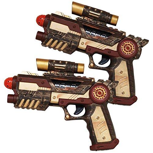 2 x s Steampunk Pistole Gun Gun'Paar Waffen viktorianischer Science Fiction SCI FI Industrial Kostüm-Kostüm Zubehör