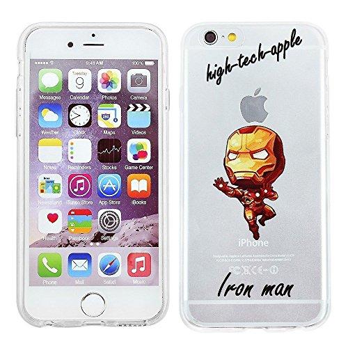Blitz® Superhéros motifs housse de protection transparent TPE caricature iPhone Spider Man M12 iPhone 6 6s Iron Man M8