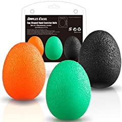 Idea Regalo - Dimples Excel Spremere palle palla antistress per la mano, dito e Grip rinforzante - Set di 3 Resistenza (set di 3 (arancione morbido + medio verde + duro nero))