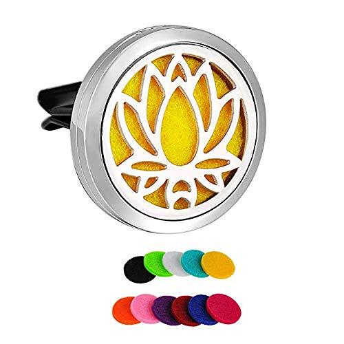SWEETHOME Lotus Désodorisant pour Voiture aromathérapie Diffuseur d'huiles essentielles Médaillon avec Clip de Vent 12 recharges