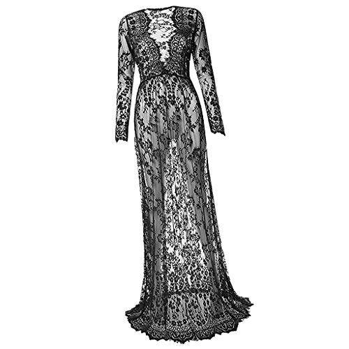 MagiDeal V-Ausschnitt Schwangere damen Spitze mode lange Hülsen reizvolle Abendkleid - Schwarz, M (Schwangere Kostüme)