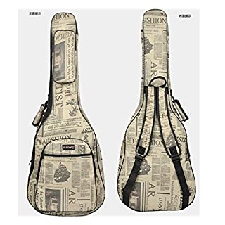 Abaobao-600D Water-resistant Oxford Cloth Double Stitched Waterproof Thicken Padded Straps Gig Bag Guitar Carrying Case with Outer Pockets Adjustable Shoulder Strap for 38 39 40 41Inchs Acoustic Classic Folk Guitar Ukulele (newspaper)