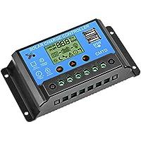 GCSJ Controlador de Panel Solar, 20A 12V/24V Controlador Carga Solar, Regulador Inteligente con puerto USB dual Pantalla LCD Protección múltiple, Parámetros ajustables