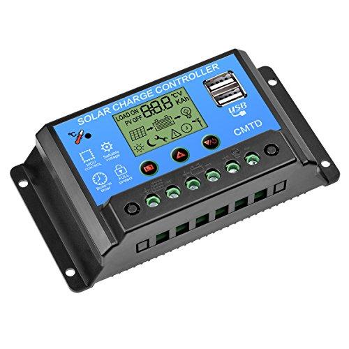 GCSJ Solar Panel Controller, 20A 12V/24V Solar Panel Ladegerät, Intelligenz Solar Panel Regulator mit Dual USB Port LCD Display Mehrfachschutz, Einstellbare Parameter Charge Controller Regulator