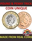 COIN UNIQUE NEW VERSION - POUND AND PENNY TRICK WITH 12 SIDED NEW POUND COIN - CLOSE UP MAGIC TRICK