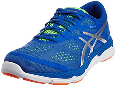 ASICS Men's 33-FA Blue, Silver and Flash Green Mesh Running Shoes - 6 UK