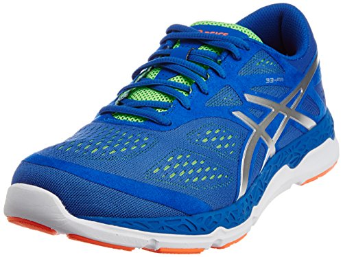 9. ASICS Men's 33-FA Blue, Silver and Flash Green Mesh Running Shoes