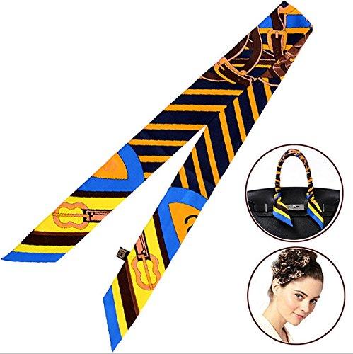 Bigood Echarpe Imitation Soie Décor Sac à Main Cheval Imprimé Multifonction Bandeau Multicolore 2