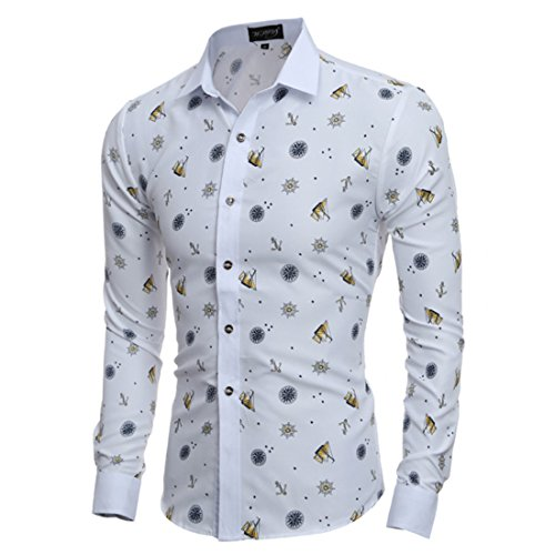 Men's Fashion Leather Pattern Slim Fit Long Sleeve Casual Shirts yellow
