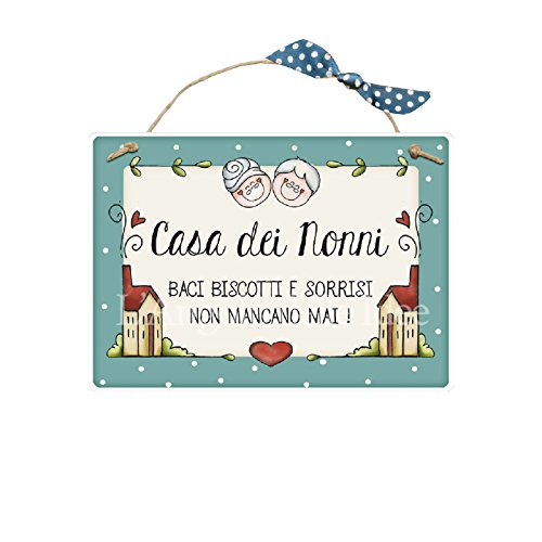 L'Angolo delle Idee Targa con spago CASA dei Nonni Baci Biscotti E SORRISI .! Idea Regalo