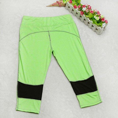 Pantalon de Sport ❤️ Femmes leggings Fitness Yoga Pantalons athlétiques ❤️ Pantalon Épissage Femmes exercice d'élasticité yoga sport fitness jogging pantalons green