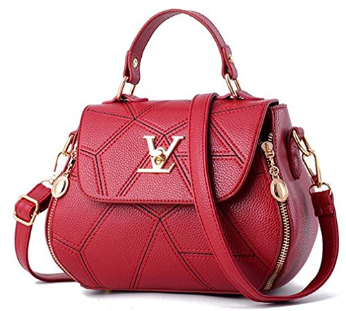 uaECB Womens Bag Leathe Handtaschen Shell Thread Damen Clutch Designer Bag Haupt Femme Women'stote Geldb?RSE Burgundy 23cmX13cmX18cm