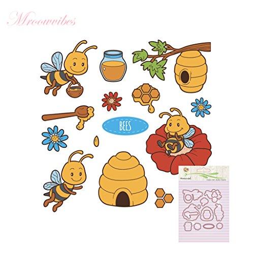 BouT 1 Set Honigbiene Silikon-Stempel Stanzformen Schablone Rahmen für Scrapbook Album Dekoration