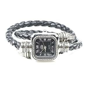 BestOfferBuy Women Vintage Snake Knit Leather Bangle Bracelet Wrist Watch Black