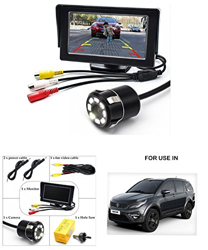 Volga Parking Assistance 4.3 Inch TFT LCD Monitor With 8 LED Night Vision Car Reverse Camera Combo For Tata Hexa