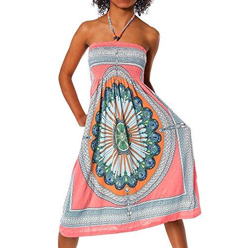H112 Damen Sommer Aztec Bandeau Bunt Tuch Kleid Tuchkleid Strandkleid Neckholder, Farben:F-026 Lachs;Größen:Einheitsgröße