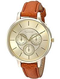 Geneva Women's GV/1012CHBN Gold-Tone and Brown Strap Watch