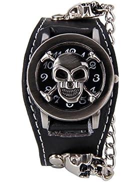 XLORDX Mode Rock skull Punk Leder Quarz Uhr Herrenuhr Armbanduhr Kette Damen Sportuhr Schwarz