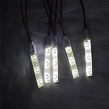 PolarLander flexibles impermeables LED blanco automóvil de la luz de la decoración de Gaza 5PCS 120 Vista de ángulo en grados con el lado del doble de la cinta adhesiva blanca