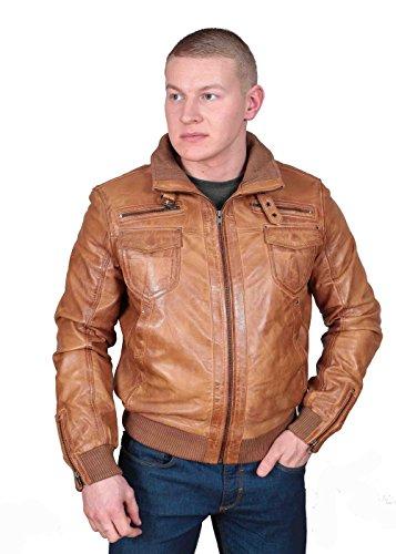 Herren Gepaßte Bomber Lederjacke Designer weiche hochwertige Mantel George hellbraun