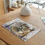 DaTun648 Platzdeckchen Tiermalerei Leinen Servietten Tee Tischset Tischset Polyester Wald und Vögel Party Decor (Color : 8)